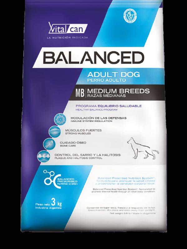 Balanced perro envase adulto mediano