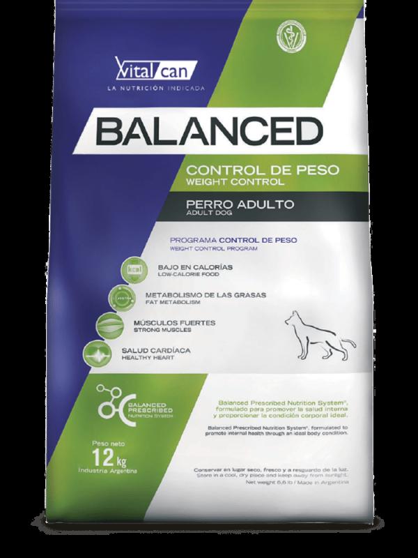 Balanced perro envase control de peso